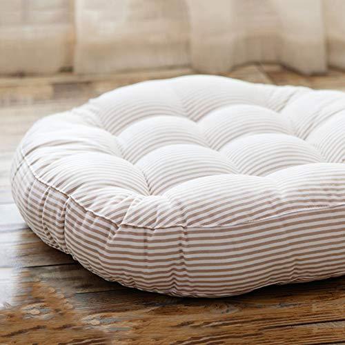 Redsun Cotton Linen Round Chair Cushion,Floor Pillow Cushion Round Stuffed Cushion,Thick Stripe Tatami Futon Seat Cushion Throw Pillows -Beige Diameter:47cm(19inch)