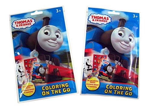 Thomas & Friends On the Go Coloring Activity Pouch with Coloring Pages, Crayons, and Stickers, Pack of 2