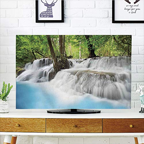 iPrint LCD TV dust Cover,Waterfall,Mystic Erawan Waterfall in compatibleest Foggy Over Pool Tropical Jungle,Light Blue Green White,3D Print Design Compatible 50