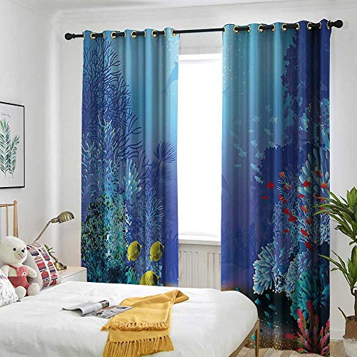 """Price comparison product image one1love Ocean Animal Decor Curtains for Bedroom Underwater Coral Reef Polyps Algae Dolphins and Goldfishes Bubbles Deep Print Embossed Thermal Weaved Blackout 84"""" W x 84"""" L Blue"""