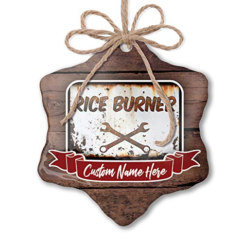 NEONBLOND Custom Family Ornament Rusty Old Look car Rice Burner Personalized Name