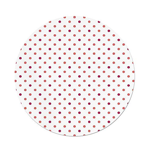 iPrint Polyester Round Tablecloth,Coral,Classical Retro Style Soft Colored Polka Dots Tile Small Spots Symmetrical,Coral Hot Pink White,Dining Room Kitchen Picnic Table Cloth Cover,for Outdoor Indoor ()