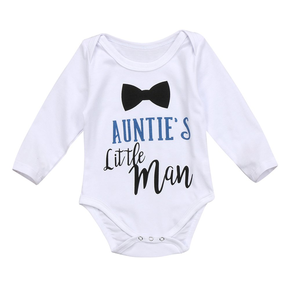 Greenafter Infants Baby Boy Auntie's Little Man Long Sleeve Bodysuits Rompers Outfits