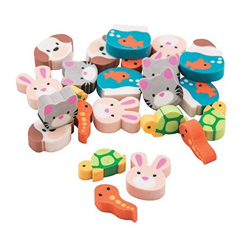 Fun Express Pets Mini Erasers - 144 Pieces