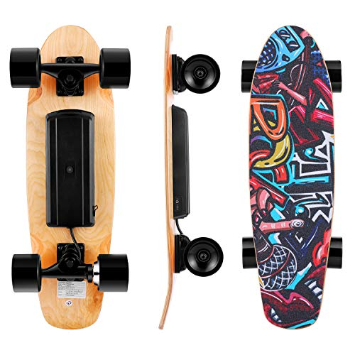 Electric Skateboard Complete with Wireless Remote Control 350W Motor, 7 Lays Maple Longboard, Three-Speed Adjustable, Skate Boards Great for Teenager and Adult [US Stock]