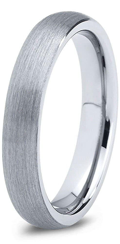 Tungsten Wedding Band Ring 4mm for Men Women Comfort Fit Domed Round Brushed Charming Jewelers CJCDN-061