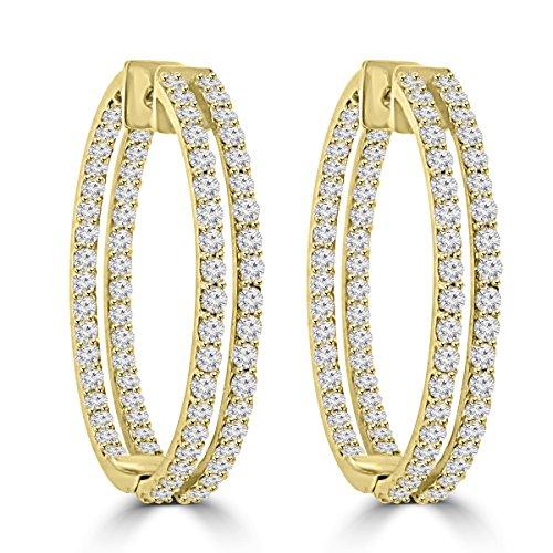 5.26 ct ttw Ladies Round Cut Diamond Inside Outside Hoop Earrings in 14kt Yellow Gold ()