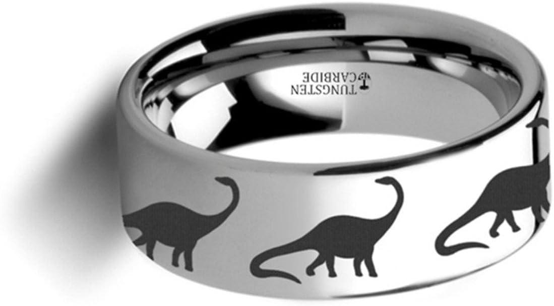 Thorsten Dinosaur Ring Brachiosaurus Prehistoric Paleo Flat Polished Tungsten Ring 10mm Wide Wedding Band from Roy Rose Jewelry