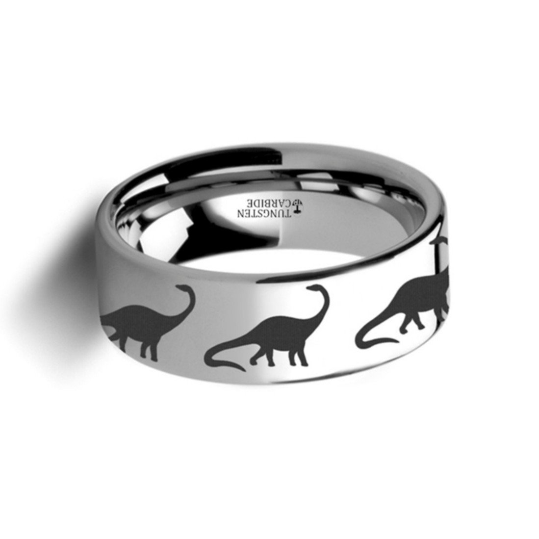 Thorsten Dinosaur Ring Brachiosaurus Prehistoric Paleo Flat Polished Tungsten Ring 8mm Wide Wedding Band from Roy Rose Jewelry