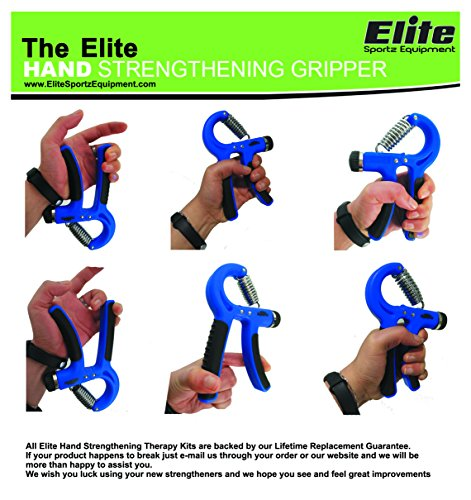 Elite Sportz Adjustable Hand Grip Exerciser and 3 Hand Grip Strengthener Balls, Combine to make a Great Grip Strength Trainer Set Resistance Range of 22lbs to 88lbs