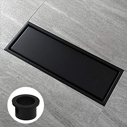 "[Rubber Gasket Included]⭐️Linear Shower Floor Drain with Tile Insert Grate - 12""x4.4"" Shower Drain with Multipurpose Cover,Make of Stainless Steel,Black Plated Finish, Hair Strainer,Hook,Black Matte"