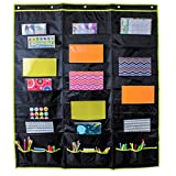 Hanging File Folder Organizer Storage Pocket Chart 30 Large Pockets and 9 Office Accessory Pockets, Reinforced No Tear Seams in Green (30 Pocket)