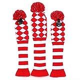 Volf Golf Driver Fairway Woods Club Knit Head Covers set Blue Red White Diamond Knit Pom Pom Sock Headcovers Set of 3 #1#3#5