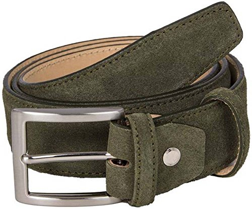 Olive Green Trento Suede Leather Belt by 40 Colori - - Olive Genuine Belt