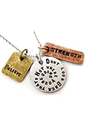 Don't Look Back That's Not Where Your Going Believe Strength Three Tone Antique Pendant Necklace