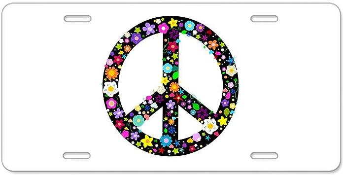 Peace Sign Licence Plate Front Custom Novelty Tag Vanity Tye Dye Tie Hippy Flood City Fabrications Hippie