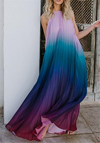 Domple Maxi Open Swing Ombre Womens Sexy Chiffon Halter Dress Purple Beach Print Back OOgvwrq