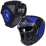 ARD Leather Art MMA Boxing Protector head guard UFC Wrestling helmet head gear (Blue, Small)