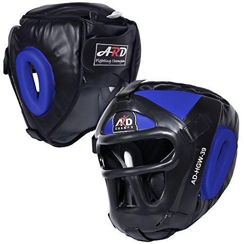 ARD Leather Art MMA Boxing Protector head guard UFC Wrestling helmet head gear (Blue, medium)
