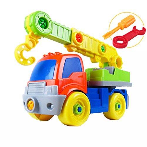 Linshop ファンシーを分解するトラックの大型クレーンおもちゃ赤ちゃんリムーバブル・アセンブリのネジを1~3歳