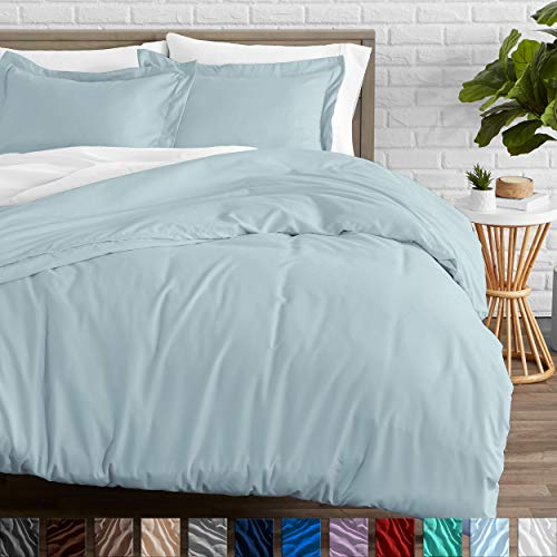 Bare Home Duvet Cover and Sham Set - Twin/Twin Extra Long - Premium 1800 Ultra-Soft Brushed Microfiber - Hypoallergenic, Easy Care, Wrinkle Resistant (Twin/Twin XL, Light Blue)