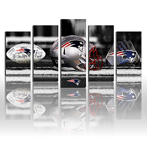 Karen Max Canvas Prints Wall Decor New England Patriots Football Helmet Gloves Logo Painting Football Sport Pictures