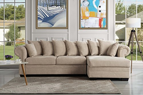 Modern Large Fabric Sectional Sofa, L-Shape Couch with Extra Wide Chaise Lounge (Tan Sectional Sofa)