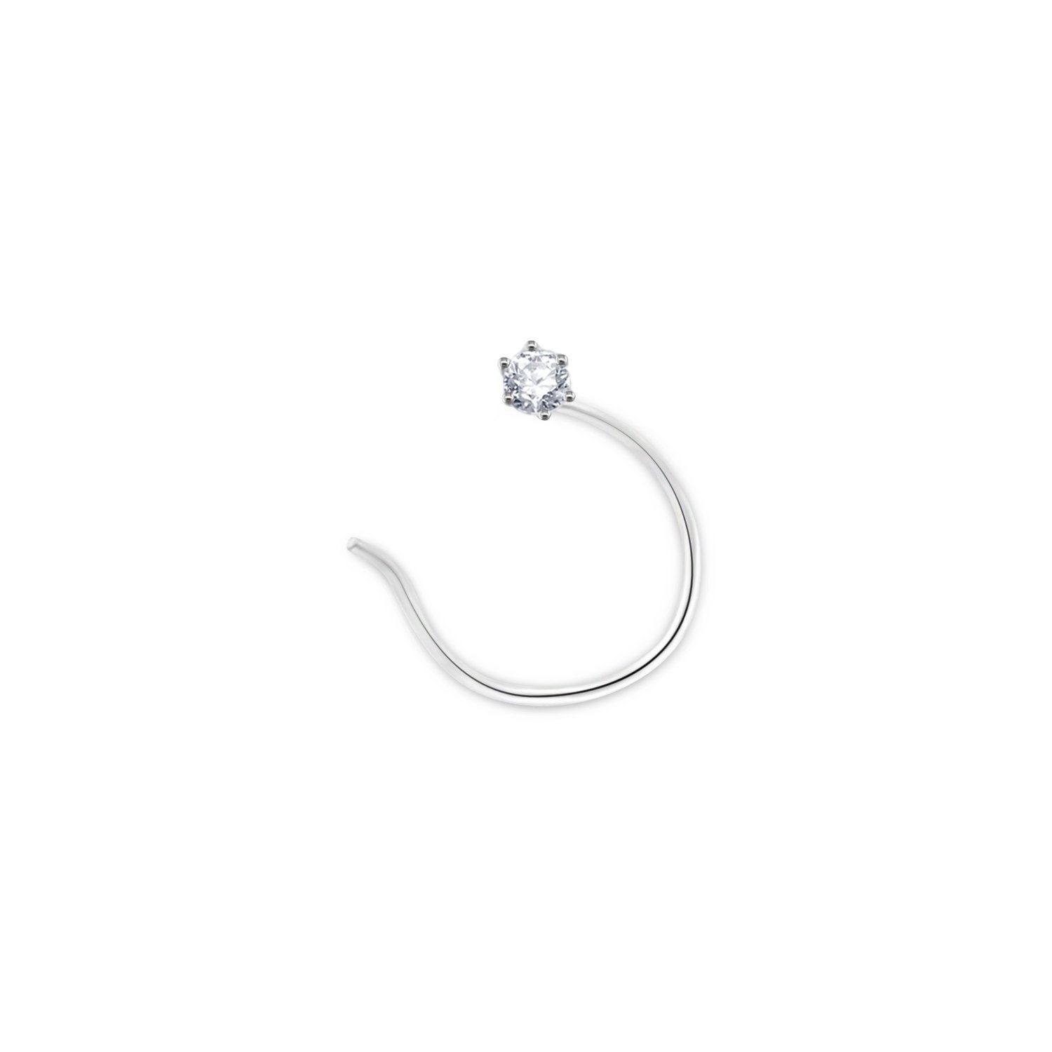 Panache Exports 2.40 mm 0.05 cttw Cubic Zirconia 18K Gold Nose Ring Twist Screw (white-gold)
