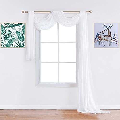 Warm Home Designs Premium Quality Extra Long 54 X 288 Inch 24 Feet Sheer Bright White Window Scarf. All Valance Scarves Look Great as Window Toppers or for Any Other Project. J White 288