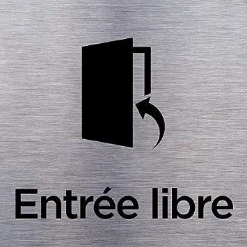 Plaque de Porte Aluminium Bross/é Acc/ès Interdit Pose Facile avec Adh/ésif au Dos de la Plaque Dimensions 150 x 150 mm