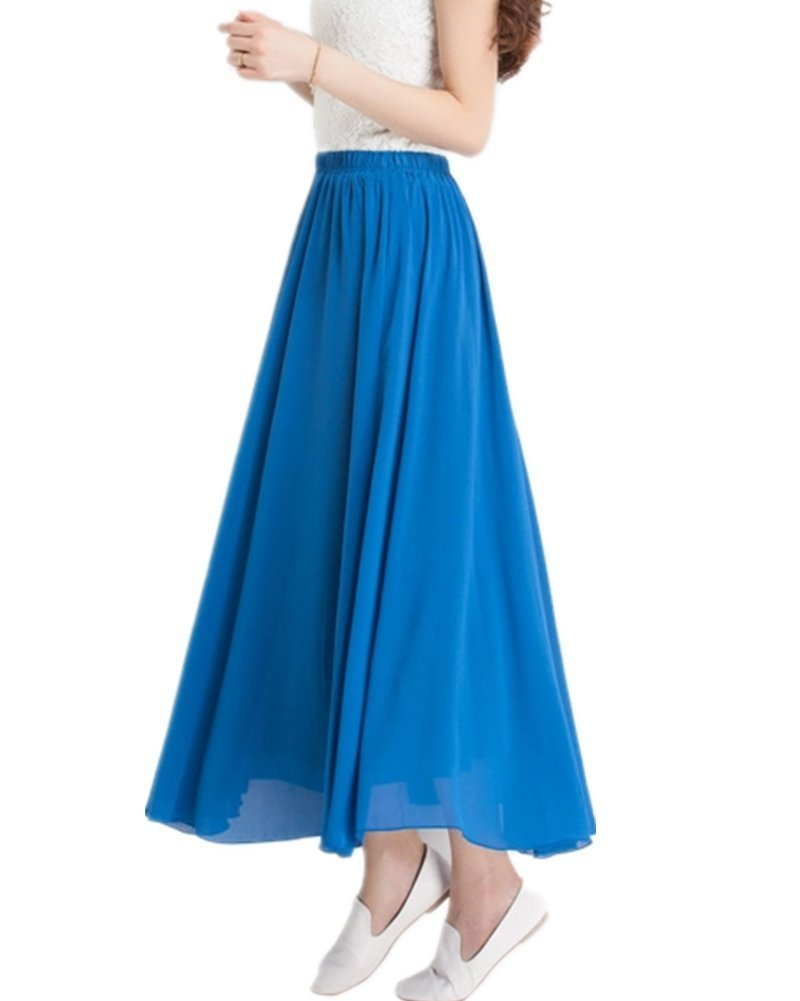 MULLSAN Women Retro Vintage Double Layer Chiffon Pleat Maxi Long Skirt Dress (Blue)