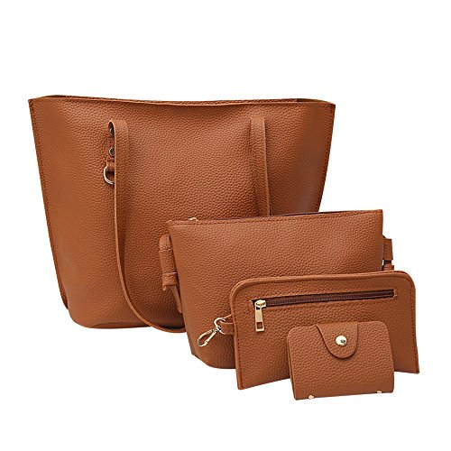 4Pcs Women's Litchi Pattern Leather Shoulder Bag+Crossbody Bag+Handbag+Wallet BW