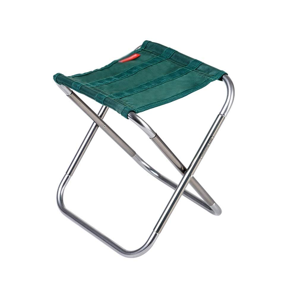 Outdoor Folding Chair Aluminum Modern Minimalist Lightweight Portable No Need to Install Camping Picnic Travel Fishing Mountaineering Outdoor 2 Colors Optional (Color : Green)