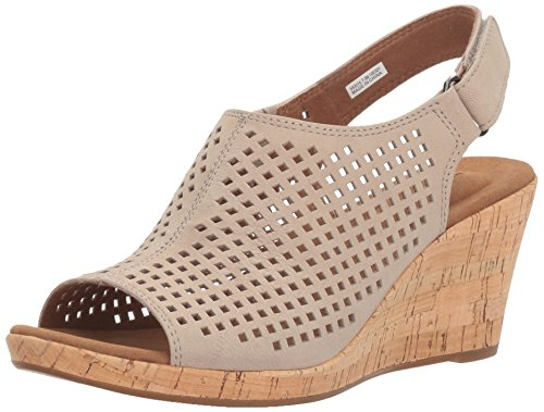 Rockport Women's Briah PERF Sling Wedge Sandal, Taupe Leather, 5 M US