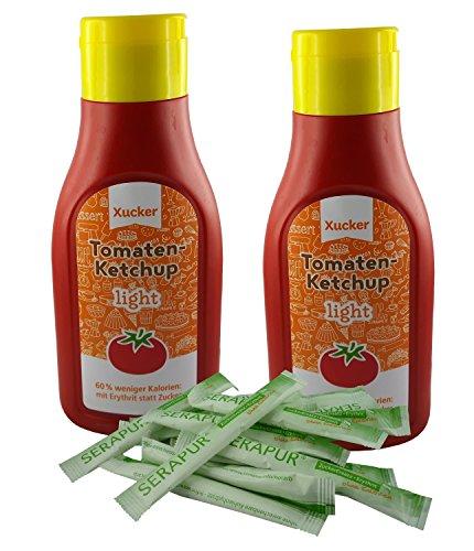 Low Carb Ketchup ohne Zucker | vegan rein pflanzlich 500 ml als 2er Pack Süßung Erythritol |plus Erythrit-Sticks (15x)