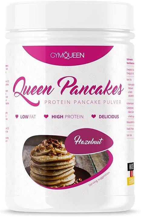 GymQueen Avellana - Polvo para tortitas de proteína bajo en carbohidratos, 500 gr.