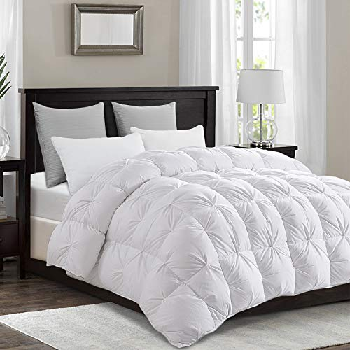 HOMBYS All-Season Goose Down Comforter King Size Duvet Insert White Pinch Pleat Design Baffle Box 1600 TC SQ DM Cotton Feather Hypo-allergenic Down Proof with Corner Tabs,60Oz Fluffy Medium Warmth