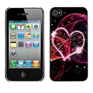 Suave silicona goma funda carcasa rígida protectora Accessory Compatible con Apple iPhone 4y 4S–Abstract Hear Love