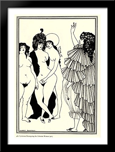 Lysistrata Haranguing The Athenian Women 28x38 Large Black Wood Framed Print Art by Aubrey Beardsley