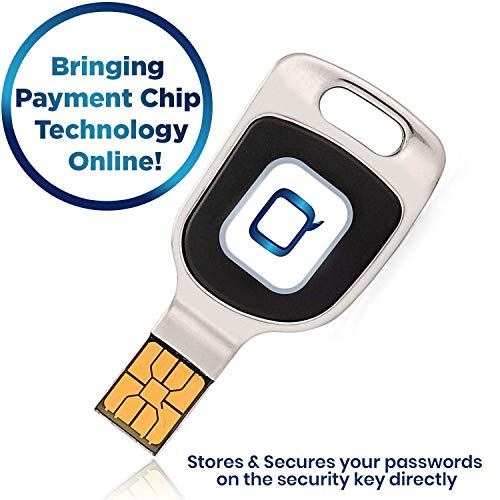 Qkey Password Vault - Three Factor Authentication Security Key for Extra Protection - Secures Internet Payment Transactions - Compatible with Windows 8.1 + and USB (Type A) (Best Usb Password Manager)