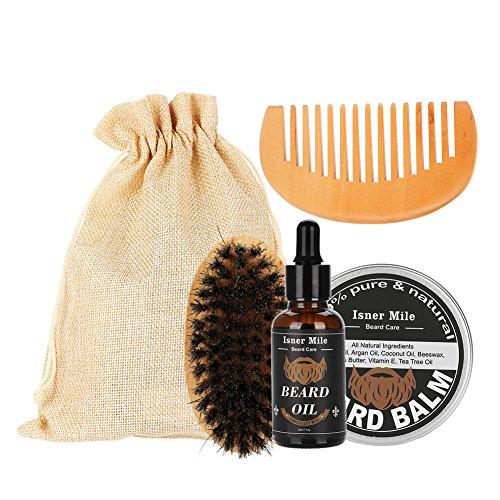 Beard Grooming Kit para Hombres 4 Unidades con Aceite de Barba Sin Perfume, Cera de Mantequilla de Bálsamo, Cepillos de...