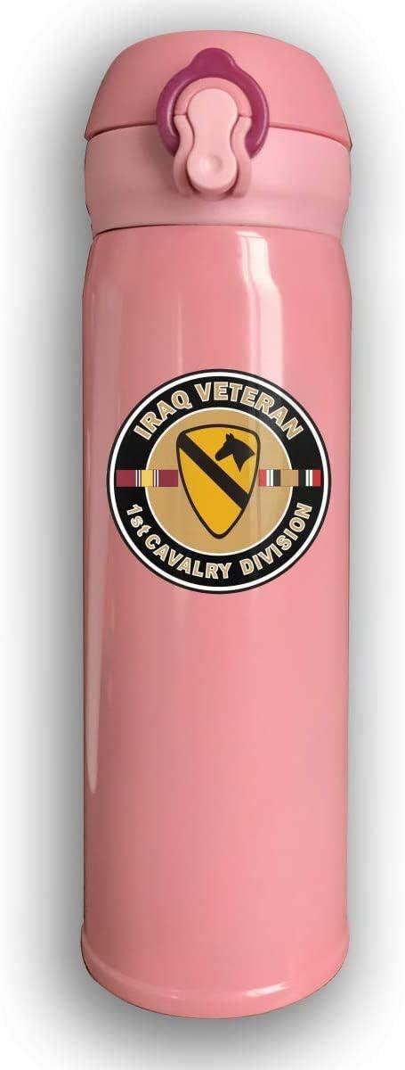 Bestqe Veterano del Ejército de los EE. UU. Primera División de Caballería Botellas de agua de acero inoxidable con aislamiento al vacío de doble pared Taza de viaje Termo de agua 17 oz
