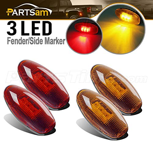 Partsam 4Pcs LED Fender Bed Side Marker Lights Set Replacement for GMC Sierra and Chevrolet Silverado 1999-2013 Dually 2500 3500 HD Dual Wheeler Trucks (2X Amber + 2X Red)