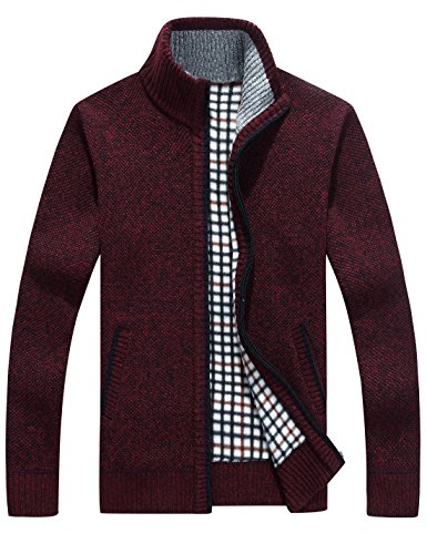 Yeokou Men's Slim Fit Zip up Casual Knitted Cardigan Sweaters with Pockets (Medium, Wine Red)