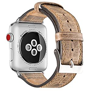 Fashion casual retro hand leather belt Apple watch with 42MM Apple watch series 3/2/1 (dark brown + transparent case) (dark brown, 42 mm)