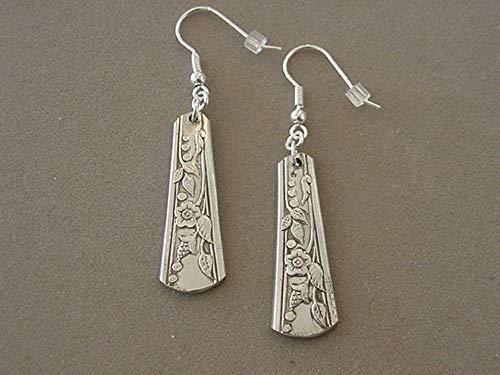 (Vintage Spoon Jewelry Earrings 1937 Camille Par Plate Middle Handle Spoon Earrings silverware jewelry recycled jewelry)