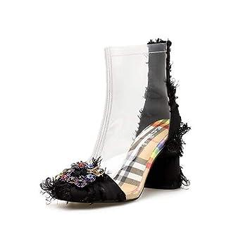 Mujer Transparente Tobillo Botín Vestido Botas 8Cm Grueso Talón Satén Rhinestone Casual Corte Zapatos UE Tamaño 34-40: Amazon.es: Deportes y aire libre