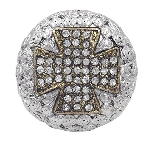 Large Western Look Dome Cross Rhinestones Statement Stretch Cocktail Ring (Squared Cross 2 ()