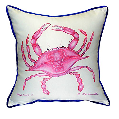 Betsy Drake Pink Crab Extra Large 22 X 22 Indoor / Outdoor White Pillow price