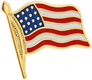 product image for JJ Weston American Flag Tie Tack. Made in The USA.